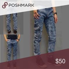 Denim Joggers Acid washed denim joggers, with waist draw string.Go to www.Menfrommars.net for a BETTER price! Pants Sweatpants & Joggers