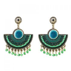 Pair of Ethnic Style Women's Faux Gem Pendant Earrings