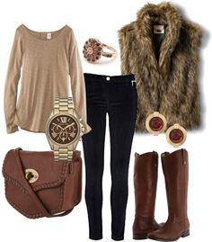 Great outfit that you can do at any price point. Love the vest in faux fur.