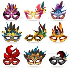 Buy Mask Icons Set by macrovector on GraphicRiver. Mask realistic icons set with feathers and jewels isolated vector illustration. Editable EPS and Render in JPG format Hobbies For Women, Hobbies To Try, Hobbies That Make Money, Masquerade Mask Template, Masquerade Party, Masskara Festival, Hobby Horse, Icon Set, Mardi Gras