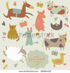 Cute farm animals in vector set. Funny horse, pig, cow, cat, dog, sheep, duck, hen and bull in cartoon style. - stock vector
