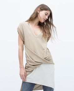 DRAPED TWO-TONE T-SHIRT from Zara