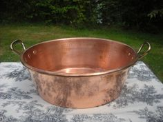 Mauviel French Vintage Copper Jam Jelly Preserves Pan Made by Mauviel Stamped Cast Bronze Handles Good Heavy Antique by NormandyKitchen on Etsy Pan Hanger, Copper Casting, Copper Pans, Copper Kitchen, Apple Butter, Antique Copper, Cool Kitchens, Preserves, French Vintage