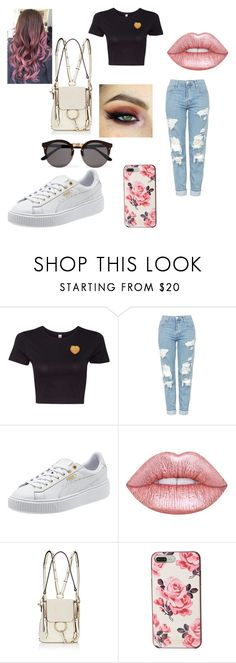 """""""Untitled #196"""" by blancaxrodriguez on Polyvore featuring Topshop, Too Faced Cosmetics, Lime Crime, Chloé, Kate Spade and Illesteva"""