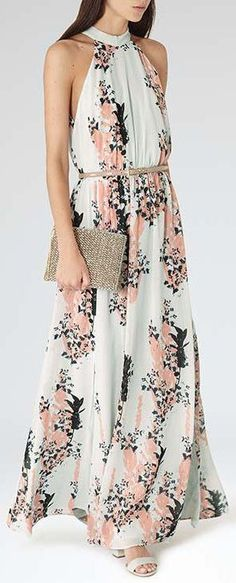 Coral & Mint Halter Maxi ❤︎ I don't usually like the front cut but this one works