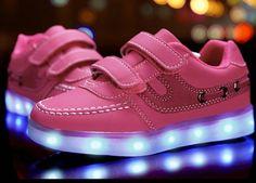 Pink Kinderschuhe Mit LED & Klettver