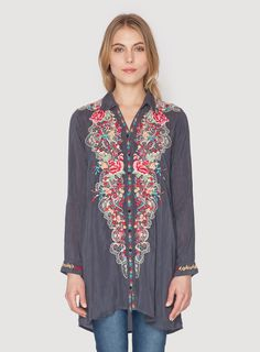 Johnny Was Clothing embroidered rayon georgette Petals Button Down Top in Graphite