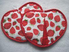 Heart   shaped Pot holder hot pad set, Strawberries by KellettKreations on Etsy