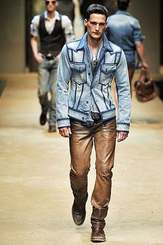 Brown leather pants & Denim jacket