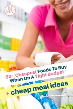 When money is tight we need to find ways to cut back on our budgets, and one of the easiest expenses to save money on is your grocery budget. There are many ways to save on food such as meal planning, couponing, buying in bulk, shopping sales, using grocery apps and much more but if you can put these strategies in place while buying the cheapest foods, you'll be able to stretch your grocery budget even further and get lower your grocery bill. Plus I share some recipes and meal ideas too! Family Meal Planning, Budget Meal Planning, Meal Planning Printable, Budget Meals, Free Groceries, Save Money On Groceries, Meal Ideas, Dinner Ideas, Cheap Grocery List