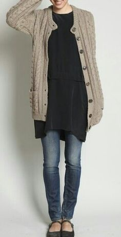 around home: can also do this with leggings (space dyed)  and a matching  black/white cardigan
