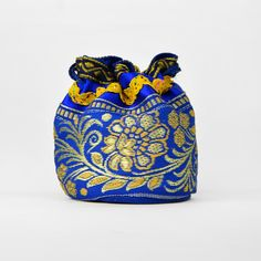 Bourse portemonnaie bleu électrique et dorée
