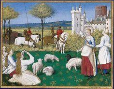 Sainte Marguerite et Olibrius, dit aussi Marguerite gardant les moutons    Heures d'Étienne Chevalier, enluminées par Jean Fouquet  Paris, musée du Louvre, département des Miniatures et Enluminures, M. I. 1093