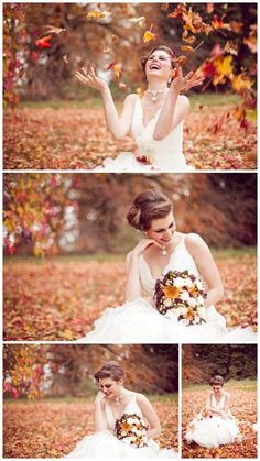 Bride in autumn leaves. fall wedding