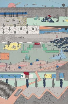 "Alex Wall, Office for Metropolitan Architecture (OMA), ""The Pleasure of Architecture,"" 1983. Poster based on competition drawings for Parc de la Villette, Paris, 1982–83. Color screen print on paper, 30 11/16 x 20 3/16""."