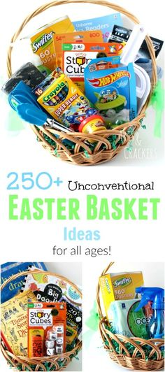 Here is a huge list of over 250 non-candy Easter basket fillers, from Baby's Fir. , Here is a huge list of over 250 non-candy Easter basket fillers, from Baby's First Easter to Basket Ideas for Craft Lovers! Hoppy Easter, Easter Bunny, Easter Eggs, Easter Table, Easter Food, Easter Recipes, Baby's First Easter Basket, Easter Baskets, Gift Baskets