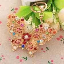 Vintage Butterfly Keyring Cute Rhinestone Crystal Charm Purse Bag Chain