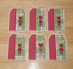 SOLD - Christmas Gift Tag Set  Reindeer Gift Tags  by AngelBDesigns4You