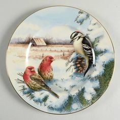 LenoxWinter Greetings Finch and Woodpecker Scenic Accent Luncheon Plate