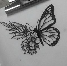Butterfly sketch, butterfly on flower tattoo, butterfly shoulder tattoo, realistic butterfly tattoo, Butterfly With Flowers Tattoo, Butterfly Sketch, Butterfly Tattoo On Shoulder, Butterfly Tattoo Designs, Butterfly Wings, Butterfly Mandala, Butterfly Quotes, Trendy Tattoos, Small Tattoos