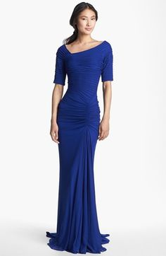 Tadashi Shoji Asymmetrical Ruched Mesh Gown (Regular & Petite) available at #Nordstrom