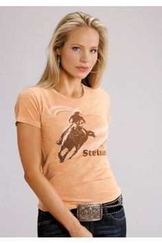 Barrel Racer Screen Print Stetson Ladies Collection Short Sleeve Urban
