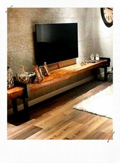 visual result of natural wood tv unit - Wohnaccessoires Living Room Tv, Home And Living, Interior Design Living Room, Living Room Designs, Natural Wood Furniture, Wooden Furniture, Pinterest Home, Diy Furniture Plans, Farmhouse Furniture