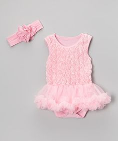 Take a look at this Pink Ruffle Rosette Skirted Bodysuit & Flower Headband by Baby Gem on #zulily today!