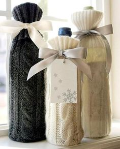 Creative gift bags ideas - Little Piece Of Me, Diy Abschnitt, Craft Gifts, Diy Gifts, Handmade Gifts, Christmas Images, Christmas Crafts, Family Christmas, Christmas Presents, Furoshiki, Wine Bottle Covers