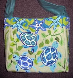 Sea Life Hobo needlepoint bag by Julie Pischke