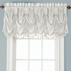 JCPenney Home Hilton Rod-Pocket Federal Tuck Valance Valance Curtains, Window Valances, Window Coverings, Window Treatments, Balloon Curtains, Balloon Shades, Waterfall Valance, How To Clean Brass, Federal