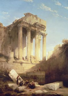 David Roberts (Scottish.1796-1864), Ruins of the temple of Bacchus, 1840. Oil on canvas.