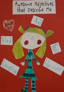 Awesome adjectives-draw and write 5 adjectives that describe themselves. #learning #spanish #kids
