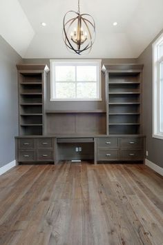 Suzie: Veranda Interiors - Beautiful office with gray walls paint color, ceiling & trim painted ...