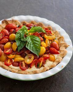 Cherry Tomato Pie by EclecticRecipes.com #recipe