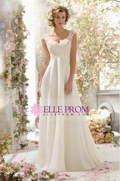 2014 V Neck A Line Wedding Dress Chiffon With Beads And Applique Court Train USD 169.99 EPPG5H286J - ElleProm.com