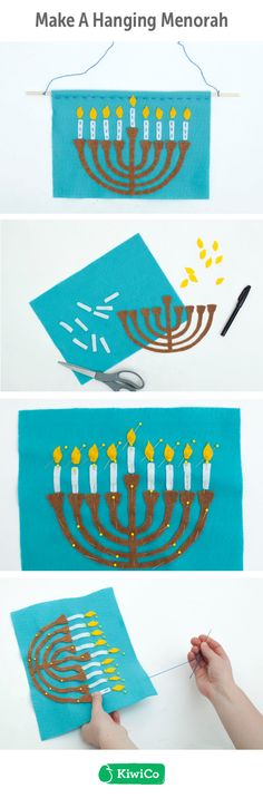 Hanging Menorah DIY. Learn how to hand sew while making a Hanukkah-themed wall hanging! Kids, holidays, Hanukkah, gifts, DIY projects, arts and crafts. Very easy, simple, an inexpensive craft.