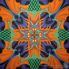 Orange, violet, and green are used in this painting. The colors and the design both make this a loud piece of art.