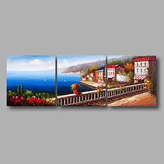 """Ready+to+Hang+Stretched+Hand-Painted+Oil+Painting+72""""x24""""+Three+Panels+Canvas+Wall+Art+Seascape+Mediterranean+Garden+–+USD+$+141.99"""