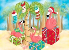 Send your warmest wishes with Brighten the Season holiday greeting cards. Cover design features pink flamingos sitting on presents. Message: May All Your Days Be Merry and Bright. Contains 16 cards and 16 envelopes.