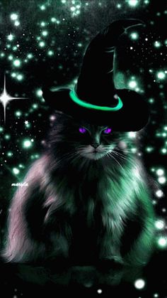 The perfect Cat Fantasy Animated GIF for your conversation. Discover and Share the best GIFs on Tenor. Retro Halloween, Halloween Chat Noir, Halloween Gif, Halloween Pictures, Holidays Halloween, Happy Halloween, Halloween Town, Photo Chat, Witch Cat