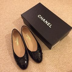 *REDUCED*Authentic Chanel Ballerina Flats in Black Classic Black patent calfskin ballerina flats, only worn once!! Comes with original box and dustbag! CHANEL Shoes Flats & Loafers