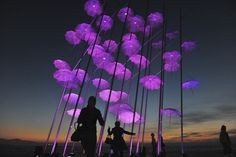 """Persoane stau în faţa unei instalaţii """"Umbrellas"""" iluminate în roz, parte a unei campanii de informare asupra cancerului la sân, în Salonic, Grecia, marţi, 21 octombrie 2014. (  Sakis Mitrolidis / AFP  ) - See more at: http://zoom.mediafax.ro/news/pictures-of-the-week-20-26-octombrie-2014-13472028#sthash.5rIccLhS.dpuf"""