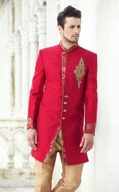designer red sherwaniTo order whatsapp us whatsapp on 919511613559 Wedding Dresses Men Indian, Wedding Dress Men, Wedding Groom, Mens Sherwani, Wedding Sherwani, Indian Groom Wear, Indian Wear, Turban Style, Bomber Jacket Men
