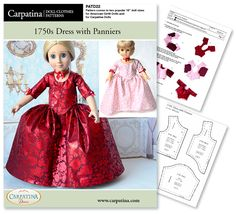 1750s Period Dress with Panniers multi sized for 18 inch American Girl and Carpatina Dolls. Inspired from Outlander Claire Infamous Red Paris dress.