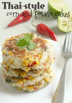 Thai-style corn & potato cakes #Recipe. Dbl-click pic for recipe. #Glutenfree #Vegan
