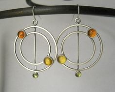 season cycle earrings sterling silver red by Q2jewelrycollection, $72.00