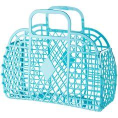 H blue plastic basket bag.