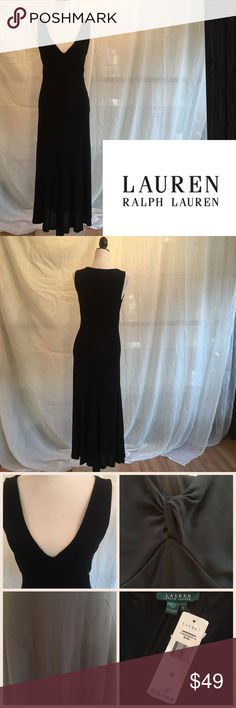 NWT Lauren Ralph Lauren Chic Sleeveless Maxi Dress NWT simple and chic maxi style dress with surplice V neck and criss cross on bustline. Features a stretchy jersey construction that is flattering to any figure. Lower hemline is constructed with triangular pleats as to give volume and flair. 100% rayon Sz Medium Lauren Ralph Lauren Dresses Maxi