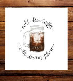 Cold Brew with Cream Art Print by Line and Feather